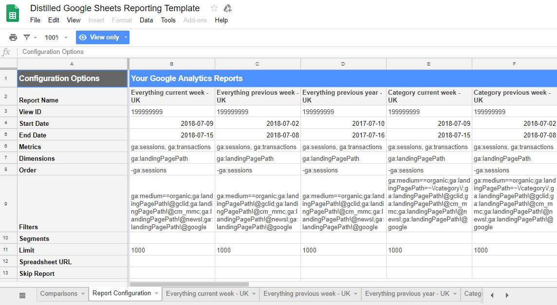 Automatic Google Analytics Reports In Google Sheets Distilled - Google sheets report templates