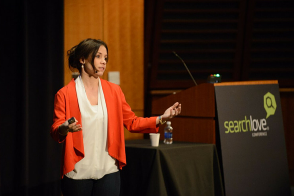 Joanna Lord on stage at SearchLove Boston 2014