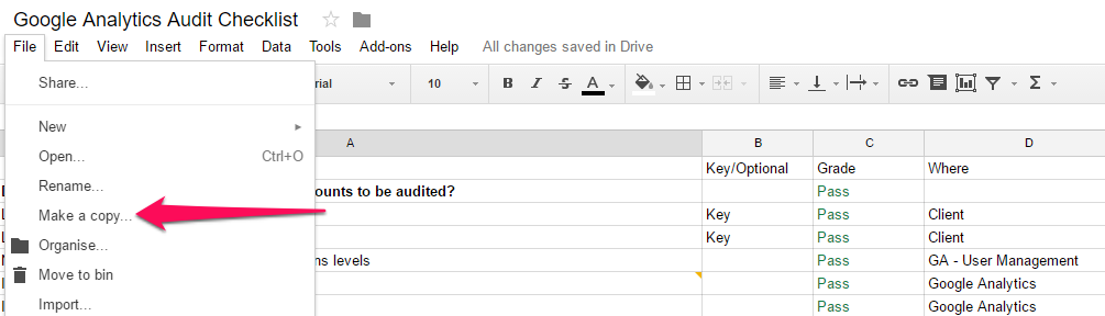 How To Use The Google Analytics Audit Checklist  Audit Format