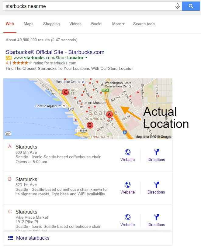 Starbucks locations on a desktop search