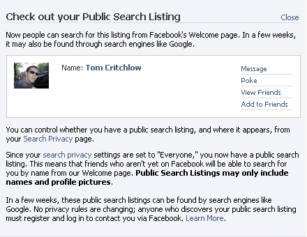 Facebook public profile info expanded