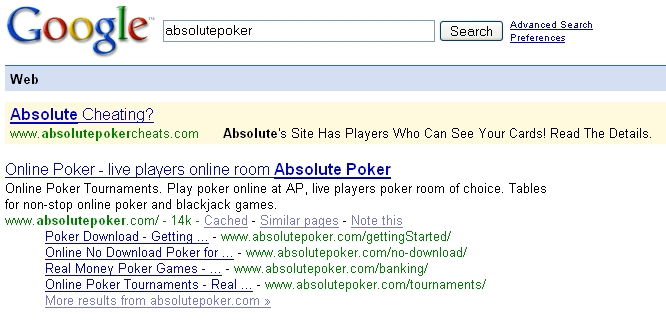 Google Search For Absolutepoker