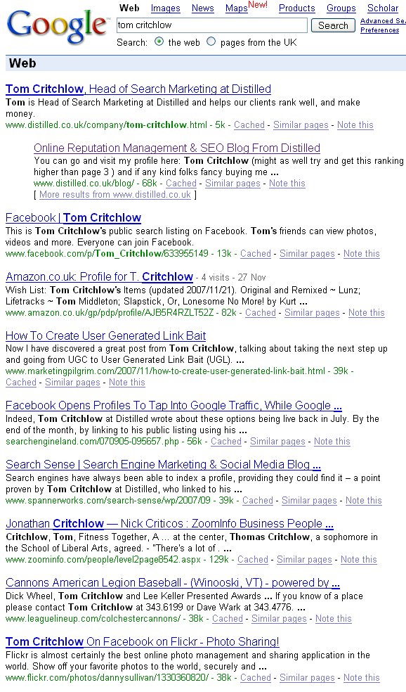 Tom Critchlow Google Search Results