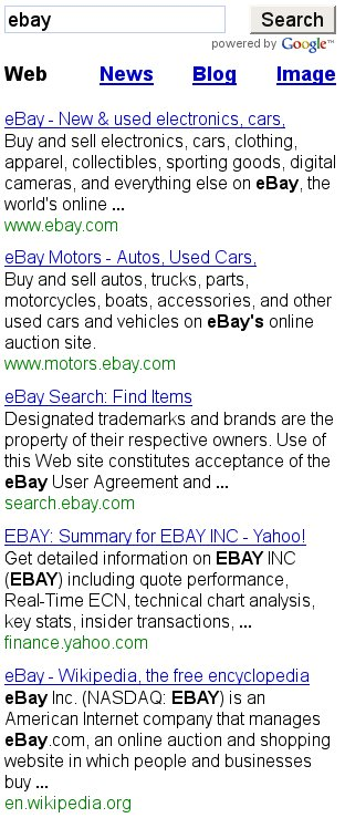Googling ebay on iPhone version of Google