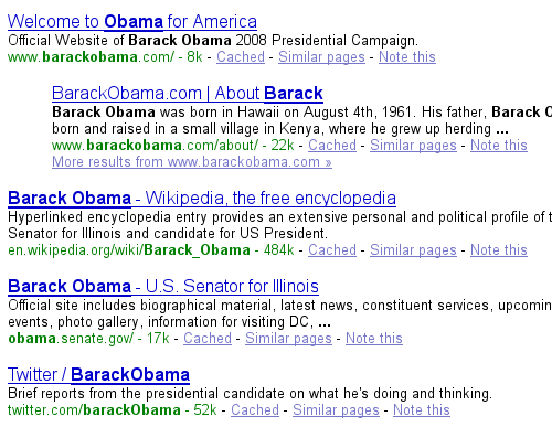 Barack Obama Twitter search results