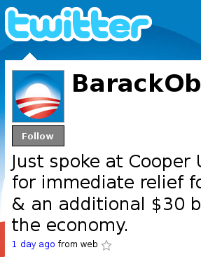Barack Obama Twitter profile