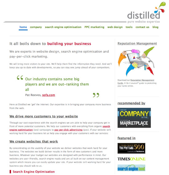 The old design for the Distilled Website