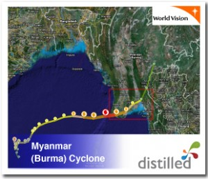 Myanmar (Burma) map of cyclone from Google