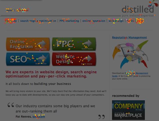 crazy egg test on new distilled home page
