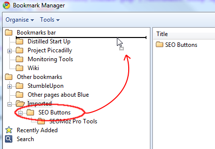 Drag the SEO Buttons folder to the top of the Bookmarks Bar folder