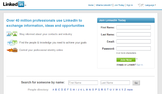 LinkedIn screen shot