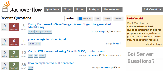 Stackoverflow screen shot