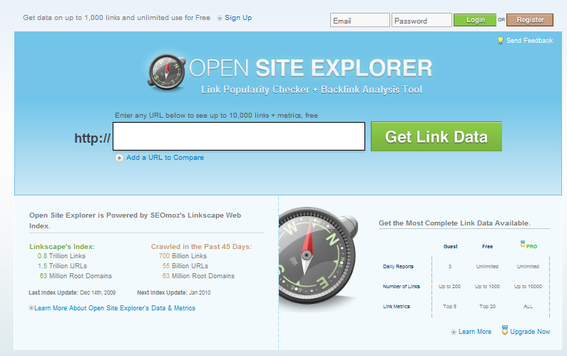 Front page of SEOmoz's Open Site Explorer
