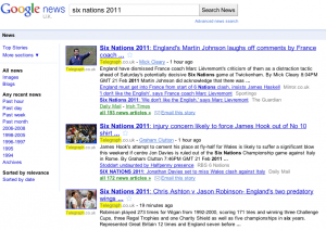 Six Nations 2011 Google News Results