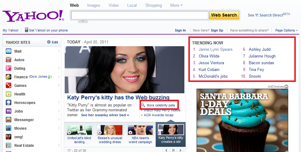 Click-searches from the Yahoo! homepage