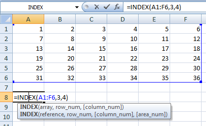 An example of what INDEX does on its own