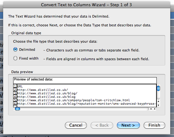 first step of the text to columns wizard