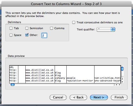 second step of the text to columns wizard