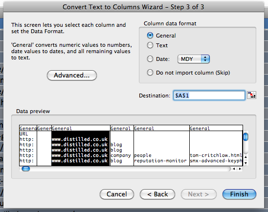 third step of the text to columns wizard