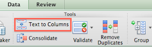text to columns option in Excel 2011 for Mac