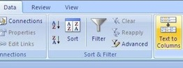 text to columns option in Excel 2007 for Windows