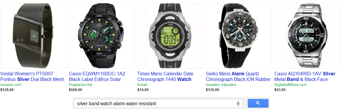 "Shopping query for ""silver band watch alarm water resistant"""