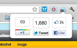 Showing the 3 Social Media sharing buttons for Facebook, Twitter and Google+