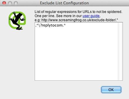 Screaming Frog Exclude Feature