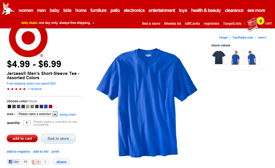 Blue T Shirt at Target