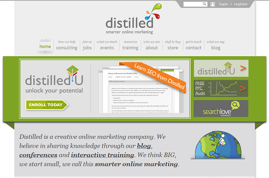 Distilled homepage