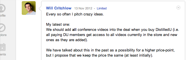My G+ pitch of adding videos to DistilledU
