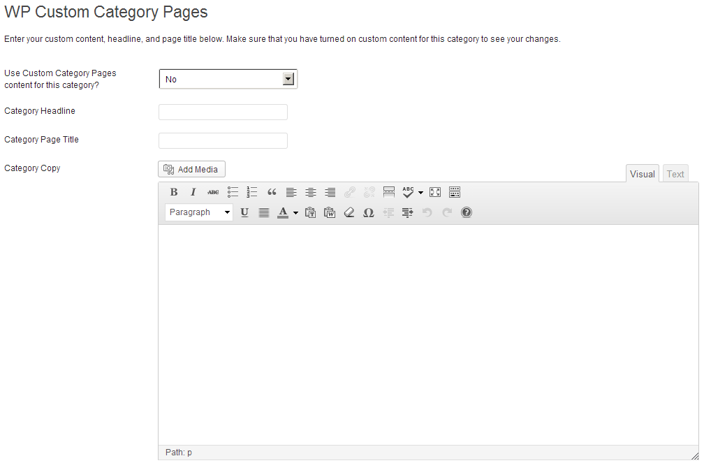 WP Custom Category Pages - Screen Shot